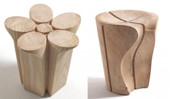 detail shot Creative Modern Shapes-Solid Cedar Stools Designed by Karim Rashid homesthetics3