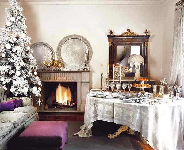 white and purple Creative&Inspiring Christmas Dinner Tables Settings and Decoration Ideas for any modern interior design homesthetics (1)