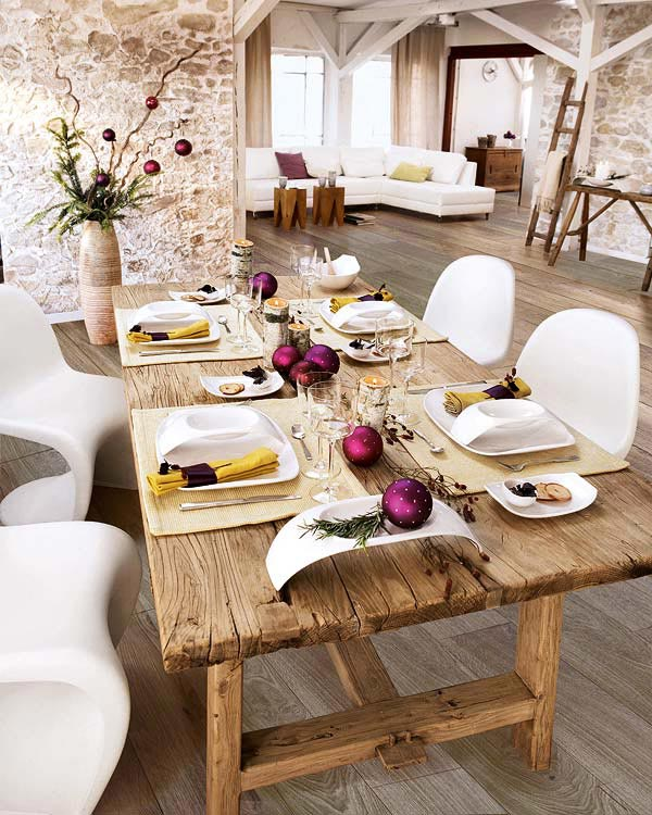 wood red and white Creative&Inspiring Christmas Dinner Tables Settings and Decoration Ideas for any modern interior design homesthetics (1)