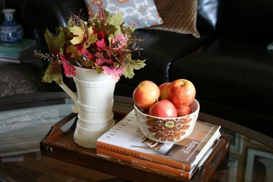 fruits leafs and flower in DIY -Welcome the Fall with Merry Decorations for Your Coffee Table  contemporary interior design ideas homesthetics (42)
