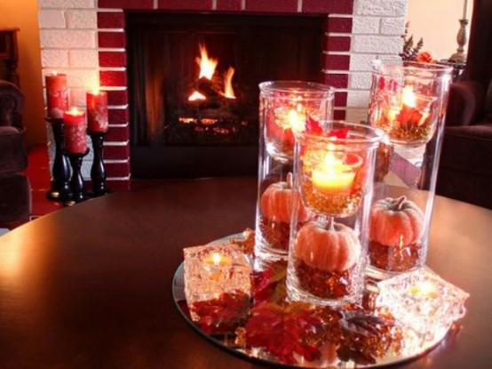 candles pumpkins DIY -Welcome the Fall with Merry Decorations for Your Coffee Table  contemporary interior design ideas homesthetics (42)