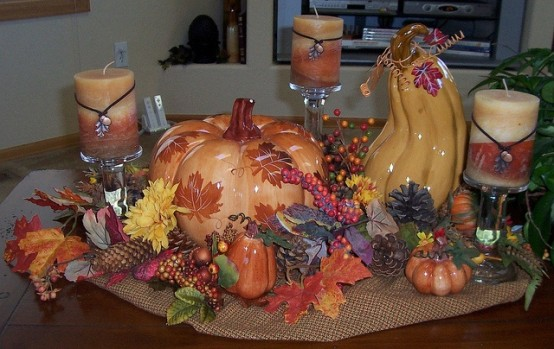 leafs flowers and pumpkins in DIY -Welcome the Fall with Merry Decorations for Your Coffee Table  contemporary interior design ideas homesthetics (42)