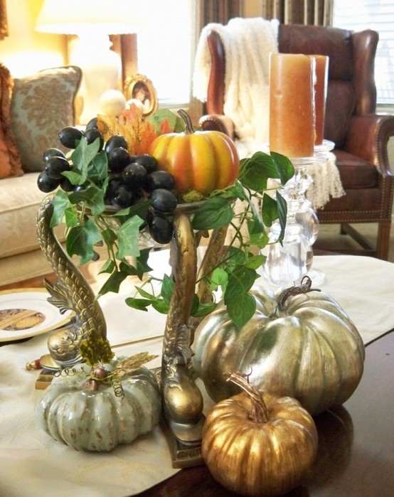 silver painted pumpkins DIY -Welcome the Fall with Merry Decorations for Your Coffee Table  contemporary interior design ideas homesthetics (42)