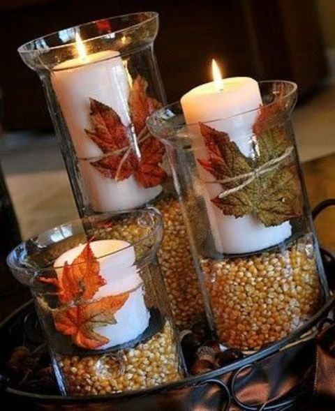 candles seeds and leafsDIY -Welcome the Fall with Merry Decorations for Your Coffee Table  contemporary interior design ideas homesthetics (42)