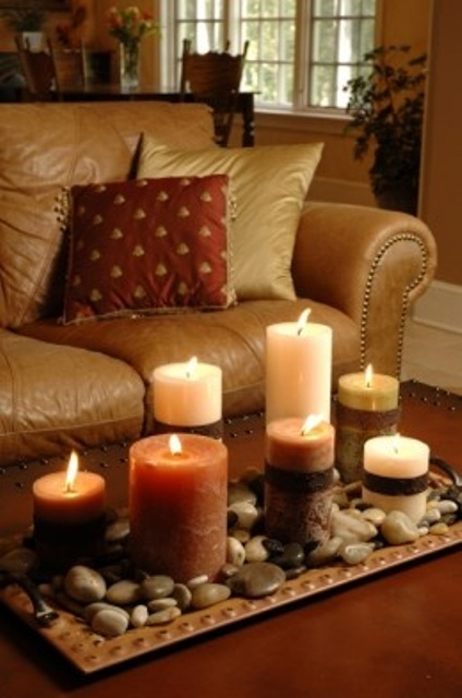 Simple Candle Arrangement DIY  Welcome The Fall With Merry Decorations For  Your Coffee Table Contemporary
