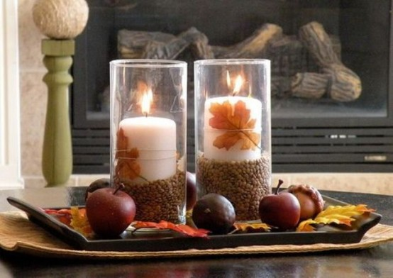 candles with fruits DIY -Welcome the Fall with Merry Decorations for Your Coffee Table  contemporary interior design ideas homesthetics (42)