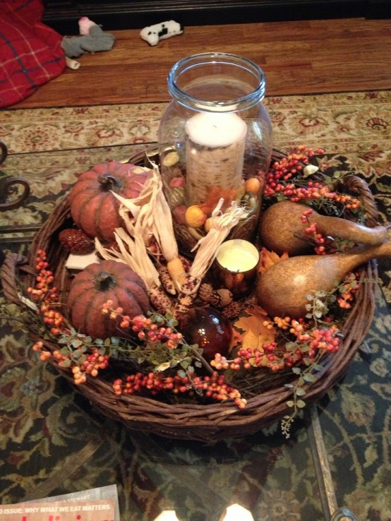 pumpkins and candles DIY -Welcome the Fall with Merry Decorations for Your Coffee Table  contemporary interior design ideas homesthetics (42)