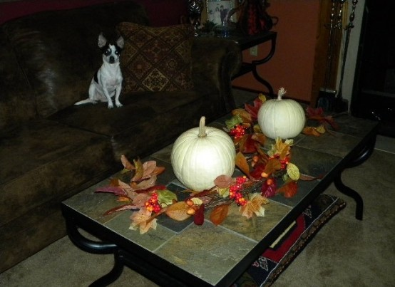 white pumpkins DIY -Welcome the Fall with Merry Decorations for Your Coffee Table  contemporary interior design ideas homesthetics (42)