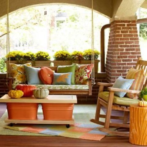 Covered Patio With Warm Colors Diy Welcome The Fall And Cozy Decorating