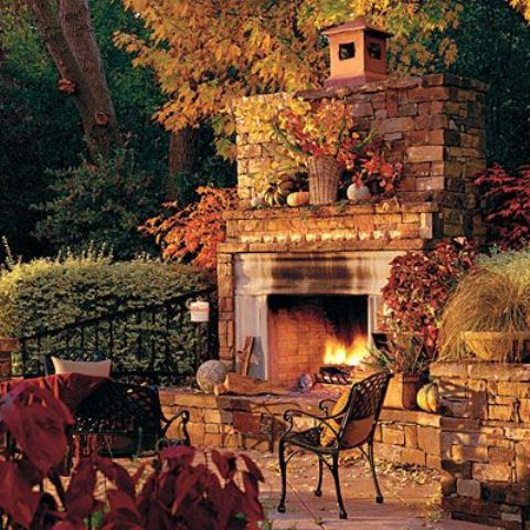 outdoor fireplace DIY -Welcome the Fall with Warm and Cozy Patio Decorating Ideas homesthetics (41)