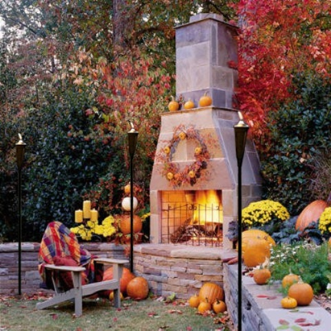 chimeny outdoor fireplace DIY -Welcome the Fall with Warm and Cozy Patio Decorating Ideas homesthetics (41)