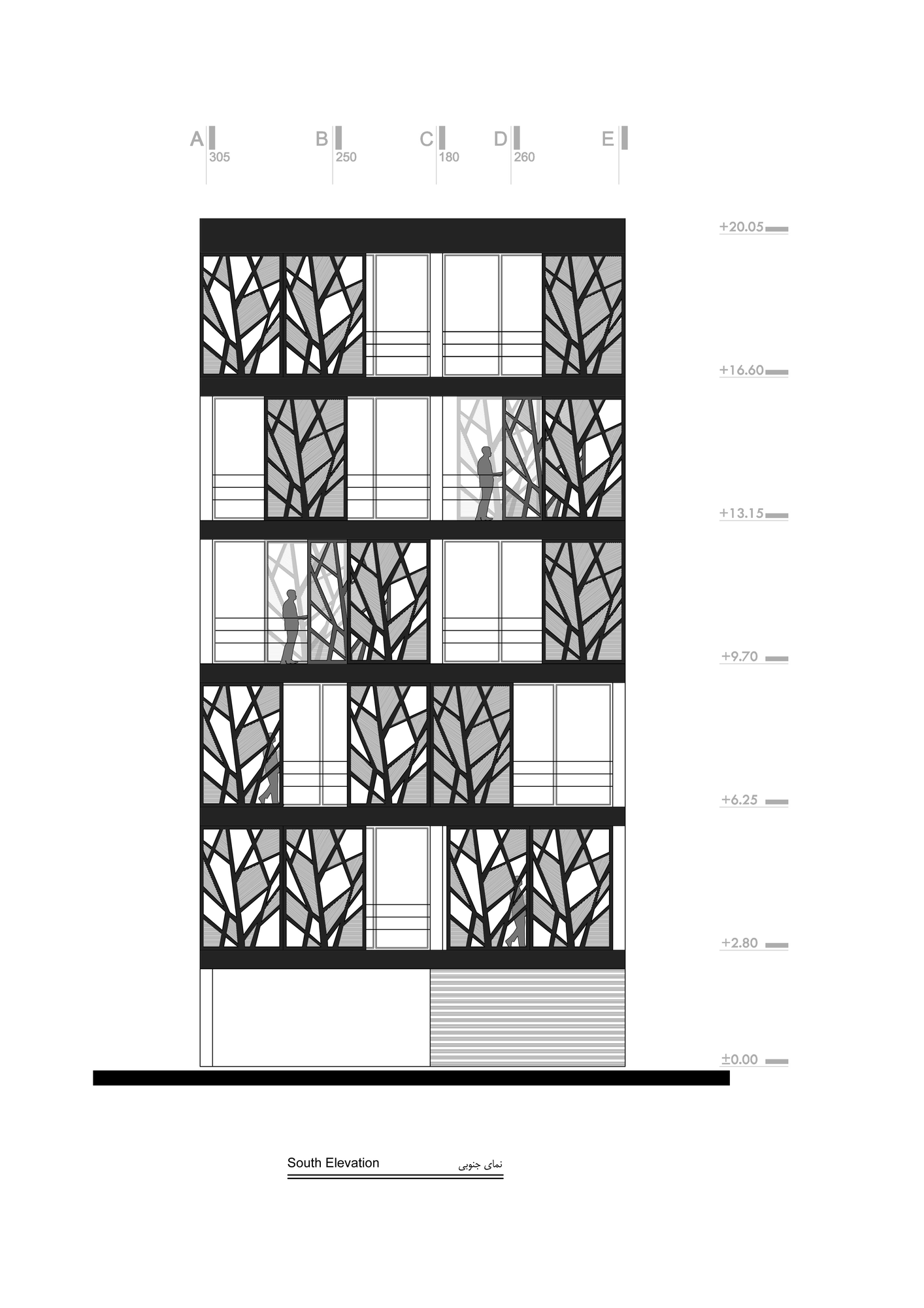 blueprint drawing of the facade of the Designed to Express Our Irrepressible Desire danial building reza sayadian and sara kalantary homesthetics (10)