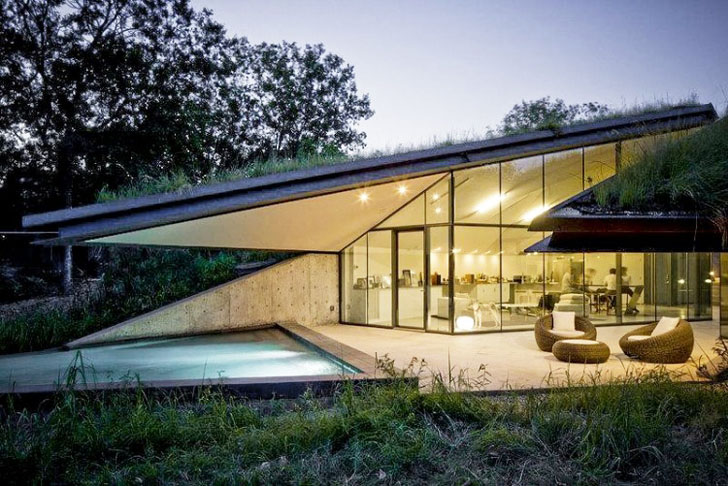 Edgeland House Modern Mansion Embedded In Earth By Bercy