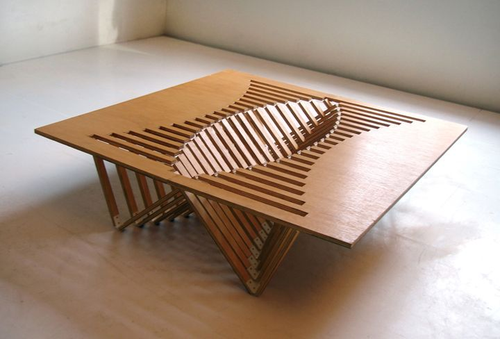 Experimental Furniture-Kirigami Inspired Rising Table designed by Robert van Embricqs (1)