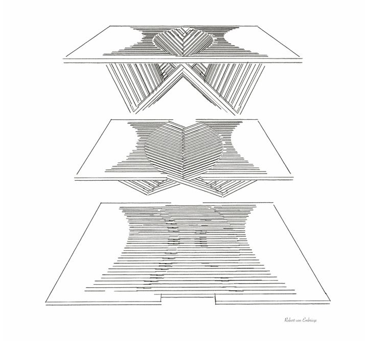 drawing of the Experimental Furniture-Kirigami Inspired Rising Table designed by Robert van Embricqs (1)