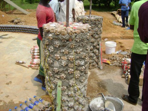 pillars of the Experimental Living- Sustainable Plastic Bottle House by D.A.R.E (1)
