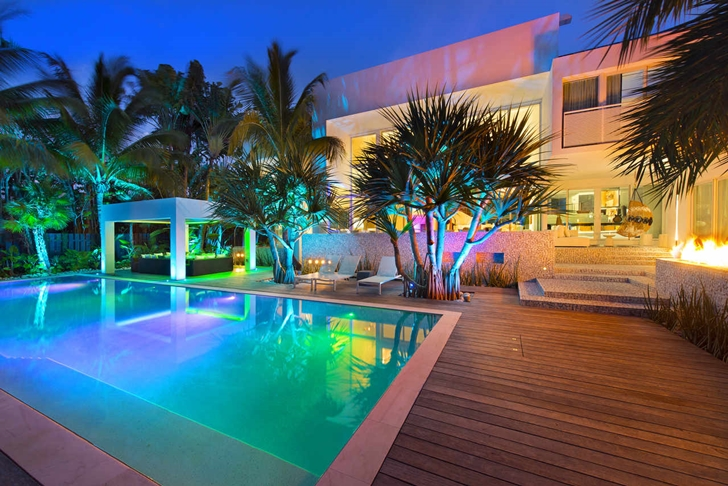 Mansion with pool at night  High End Luxurious Modern Mansion with Colorful Lighting Located in ...