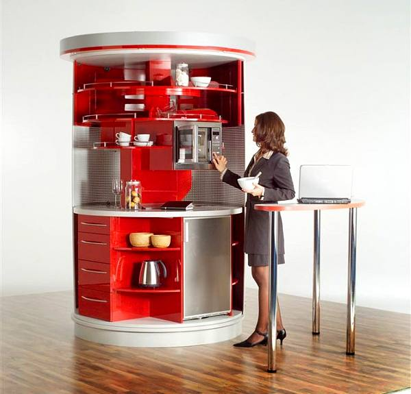 Contemporary Approach To Kitchen Design: Home Circled Kitchen For Small  Spaces By Compact Concepts Red
