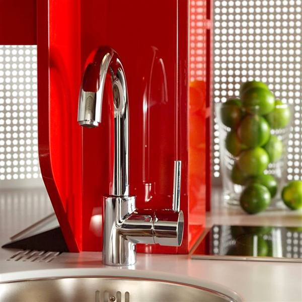 Contemporary Approach to Kitchen Design: Home Circled Kitchen for Small Spaces by Compact Concepts glossy red