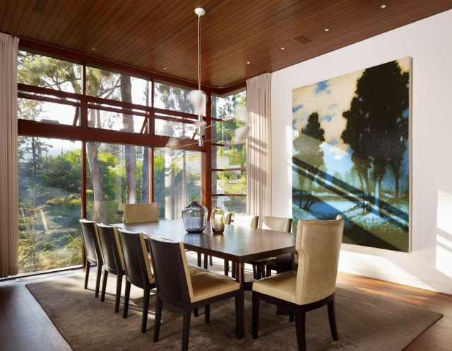 modern dinning area in a Luxurious Modern Mansion Design in California - Mandeville Canyon Residence in contemporary style using sustainable materials homesthetics (17)