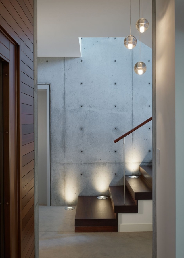 staircase access into the Luxurious Modern Mansion Design in California - Mandeville Canyon Residence in contemporary style using sustainable materials homesthetics (1)