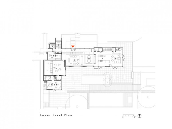 blueprint plan of the Modern Cliff View Residence Shining in a Contemporary Style- OZ House California modern mansion (1)