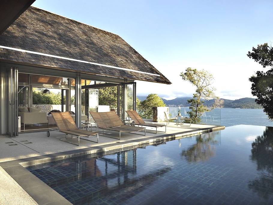 high end luxurious patio with infinity pool Modern Retreat - Ocean Front Dream House in Phuket on Sale