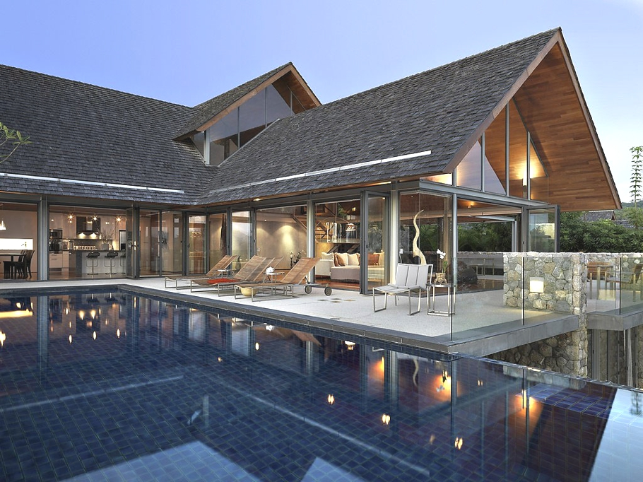 Modern luxurious retreat ocean front dream house in for Thai modern house style