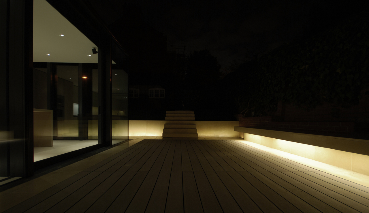 Rear House Extension Garden Design by LBMV Architects night