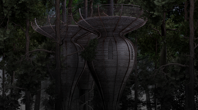 Roost Treehouse by Antony Gibbon  nightime render