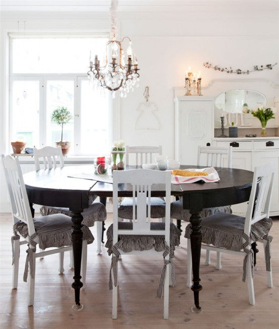 Dinning Area In The Rustic Scandinavian House Black And White Expressing Coziness Warmth Homesthetics