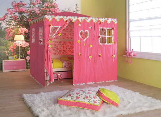 red tent doll house like Simple Bedroom Interior Design Ideas Featuring Play Tents for Kids to fit any modern home homesthetics (18)