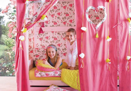 pink feminine tent Simple Bedroom Interior Design Ideas Featuring Play Tents for Kids to fit any modern home homesthetics (18)