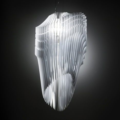 Zaha Hadid for Slamp Aria and Avia Lamps Unveiled white