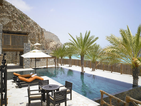 extraordinary terrace by the pool A Drop of Heaven – Six Senses Zighy Bay Resort – Northern Musandam Peninsula