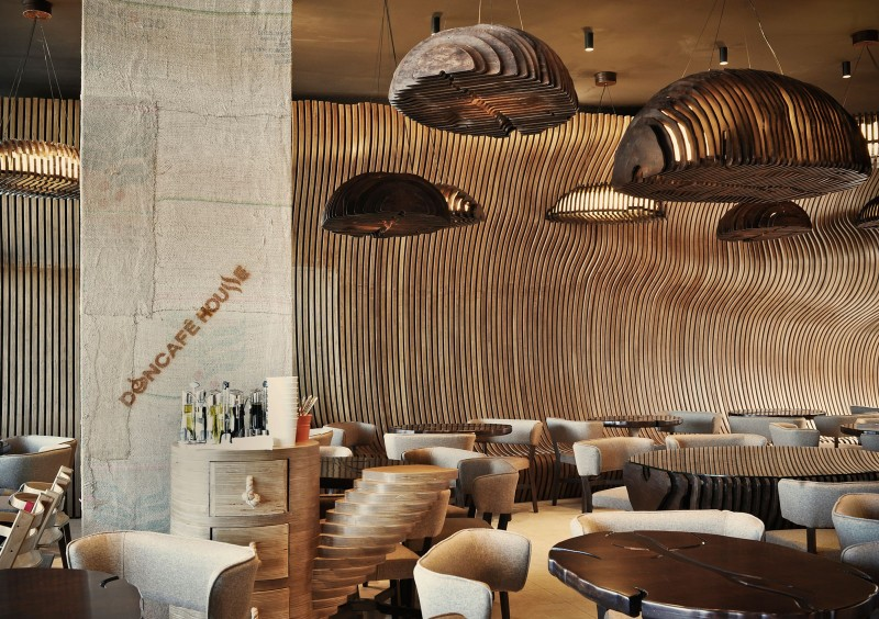 extraordinary interior design all wood in a modern doncafe showroom
