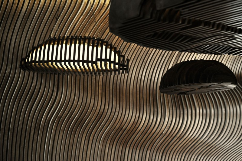 detail shot close of the coffee grains suspended on the top of the showroom
