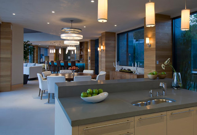 kitchen overlooking the dinnin gblue jay way street Extraordinary Cliff View Modern Mansion Located on the Sunset Boulevard in Hollywood Hills homesthetics (2)
