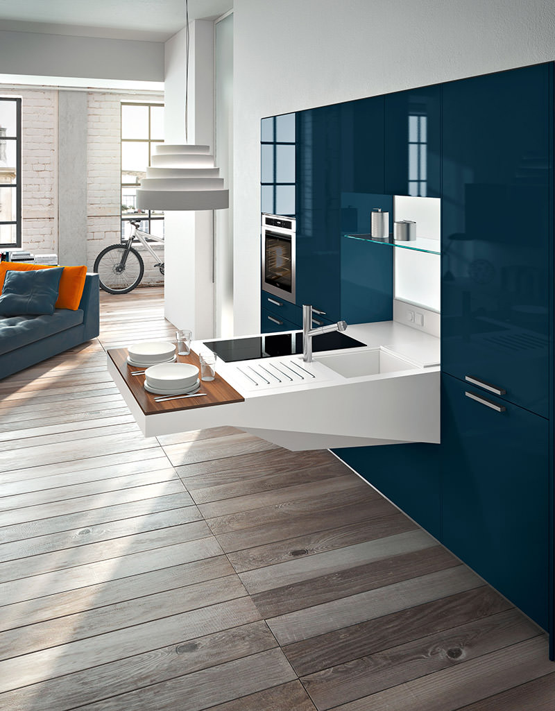 Interior Design For Kitchen: Highly Versatile Board Compact Kitchen Designed By