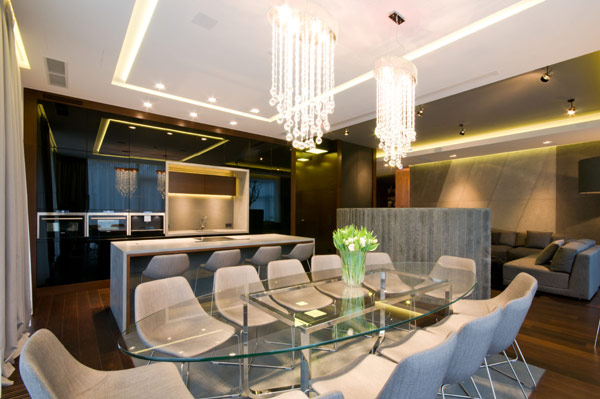 dinning room modern Luxurious High End Warsaw Apartment by Hola Design in Poland homesthetics  (14)