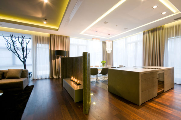 amazing modern fireplace modern Luxurious High End Warsaw Apartment by Hola Design in Poland homesthetics  (14)