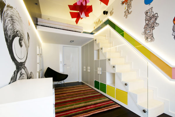 staircase colorful interior design modern Luxurious High End Warsaw Apartment by Hola Design in Poland homesthetics  (19)