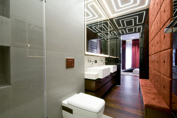 huge bathroom in modern Luxurious High End Warsaw Apartment by Hola Design in Poland homesthetics  (14)