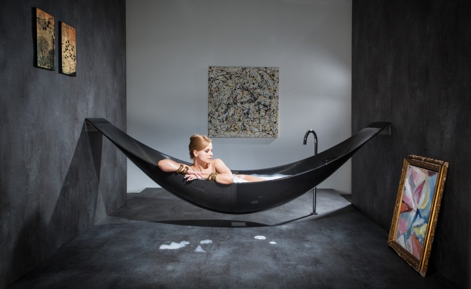 Oasis Modern Black Hammock Bathtub Design Made From Layers Of