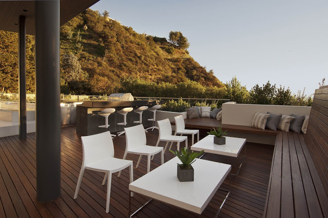 patio of the 1734 Doheny - Cliff View Modern Home In Hollywood Hills, California by Luca Colombo
