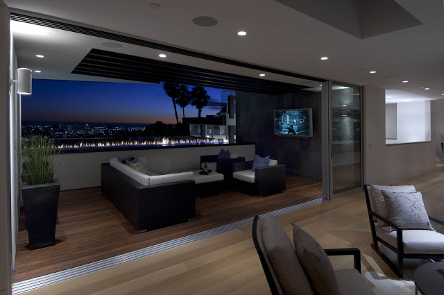 exterior living room in black and white 1734 Doheny - Cliff View Modern Home In Hollywood Hills, California by Luca Colombo