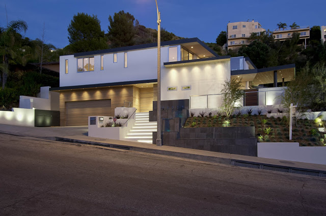 exterior view 1734 Doheny - Cliff View Modern Home In Hollywood Hills, California by Luca Colombo