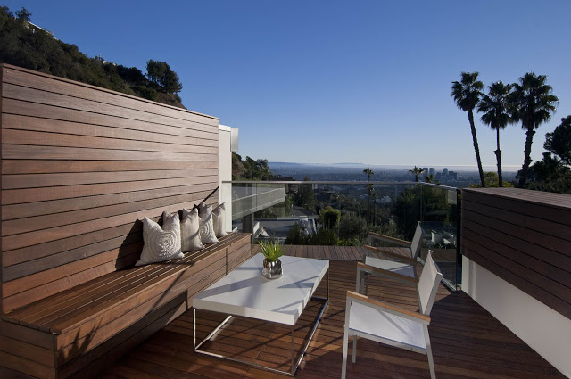 exterior terrace pattio 1734 Doheny - Cliff View Modern Home In Hollywood Hills, California by Luca Colombo