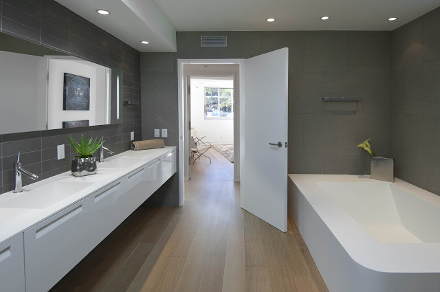 bathroom interior design 1734 Doheny - Cliff View Modern Home In Hollywood Hills, California by Luca Colombo