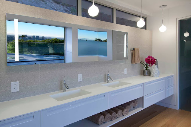 bathroom design 1734 Doheny - Cliff View Modern Home In Hollywood Hills, California by Luca Colombo